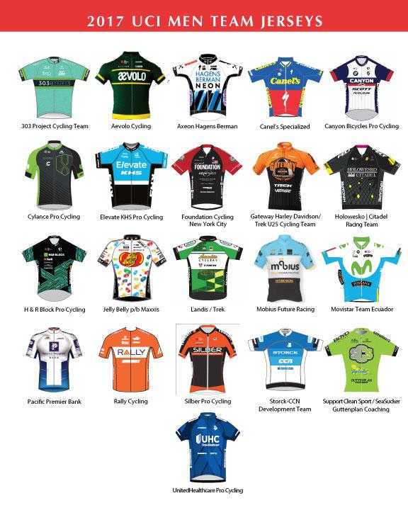 2017 Tour of the Gila Men Team Jerseys