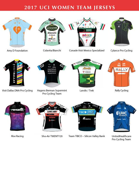 2017 Tour of the Gila Women Team Jerseys